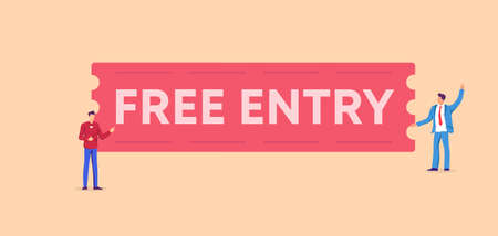 Free entry banner. Affordable red access free attendance at festive event with admission for all cultural benefit concert for general masses marketing creative trick attract vector visitors.