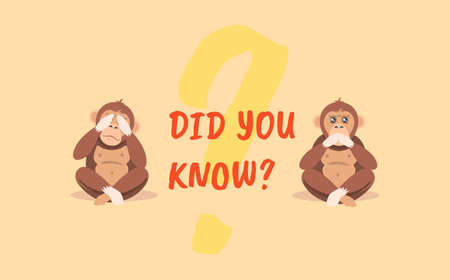 Did you know. Yellow question with two monkeys with closed eyes and mouth communication on solving issues necessary knowledge about interesting places and people creative marketing vector advice. Illusztráció