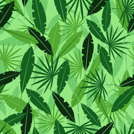 Leaves in jungle background. Tropical green plants with exotic shapes summer in Hawaii with thickets of plants and lianas fern forests in misty haze rain and vector vapor. 矢量图像