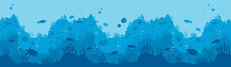 Underwater world background. Horizontal blue depth with silhouettes of fish and sea turtles diving in mariana trench oceanic aquarium with underwater inhabitants exotic world vector diving.