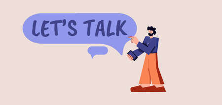 Lets talk poster. Symbol communication and purple discussion of interesting topics marketing dialogue with statements reputable businessmen social conversation with vector psychologist.