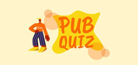 Pab quiz poster. Competition with modern marketing advertising entertainment to attract visitors intellectual games and pleasant pastime with friends information vector quests for everyone.