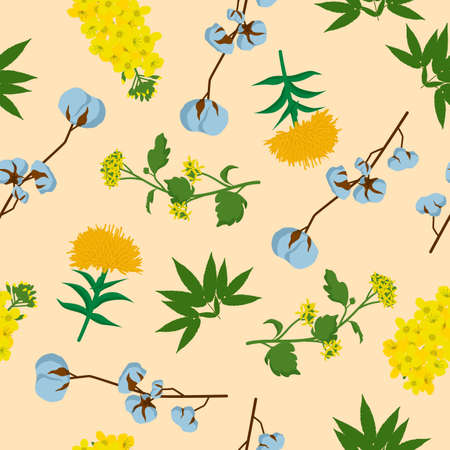 Wildflowers and leaves seamless pattern. Yellow inflorescences with green maple leaves orange daisies with elongated white stems beautiful spring romantic ornament decorative flowering vector summer.