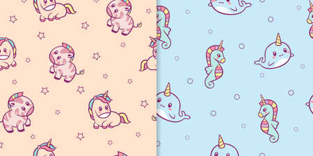 Kawaii anime animals seamless pattern. Cute zebras with red spots and rainbow mane small pink funny unicorn with yellow green fur smiling narwhal and blue seahorse with horn multicolor vector.