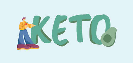 Keto diet banner. Healthy organic food mixture of vegetables and meat balance natural protein with fats fresh fish steak and avocado salad with herbs natural health for vector weight loss. 向量圖像