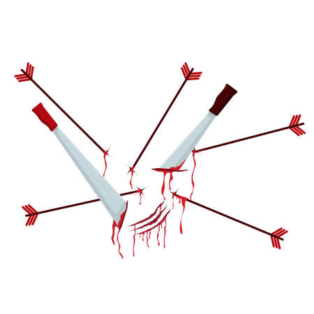 Swords and arrows stuck into surface with flowing blood clipart. Abstract field after battle with bloody prints vector carnage.