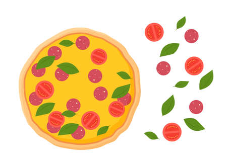 Freshly prepared pizza and ingredients. Pepperoni topped with yellow cheese with sausage and slices red tomatoes with green leaves vector basil.