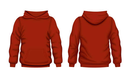 Red hoodie front and back views. Quality cotton hooded sweatshirt for everyday wear and expressing streetwear vector style. Vetores