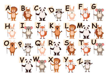 Cartoon animals with alphabet letters banner. Template lion with poster greets amazed squirrel with training font good natured panda joyful vector raccoon.