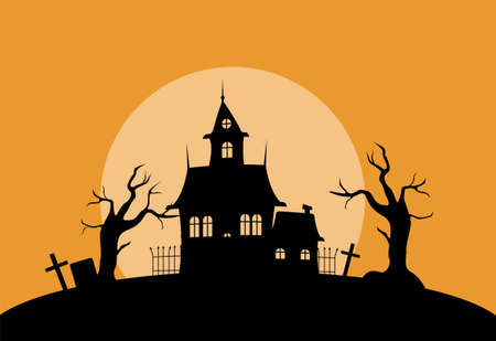 Mystical house in cemetery silhouette illustration. Spooky old palace with dry trees and gravestones against setting sun with creepy gothic vector.