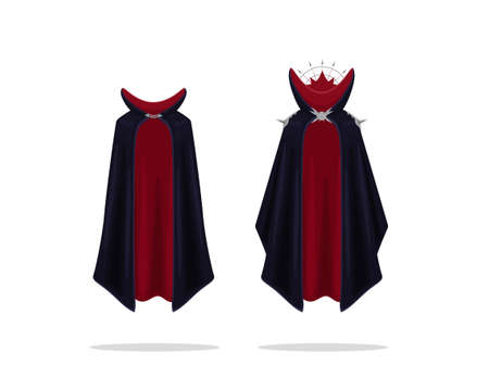 Battle archmage mystical cloak clipart. Silk red cape with black top and magic collar with iron spikes vector shoulders.