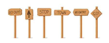 Old wooden pointers banners. Retro billboards on stick with stop and no entry announcements and information brown wood texture with vector direction.