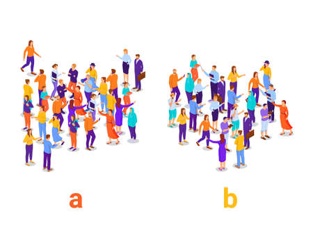 Dividing people into two groups isometric concept. Social experiment with division into a and b research populations vector characters. Vektorgrafik