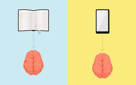 Brain gyrus while reading book and viewing smartphone concept. Pumped pink brain studying interesting article and weak one with empty hemispheres watching online social vector networks.