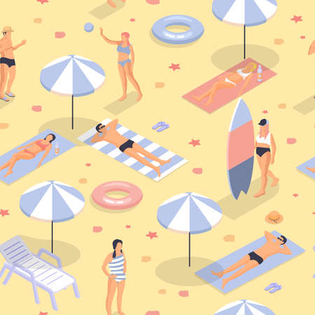 People sunbathe and play beach isometric seamless pattern. Woman in striped gray swimsuit walks with surfboard man in black swimming trunks doze yellow vector sand.