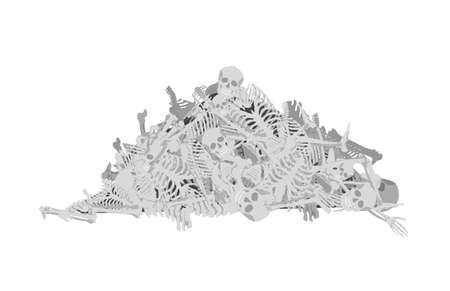 Mountain of human bones. Aftermath of gruesome mass murder ancient burial of dead old bloody vector battlefield.
