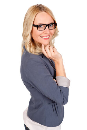 Smiling young woman with glasses isolated on white photo
