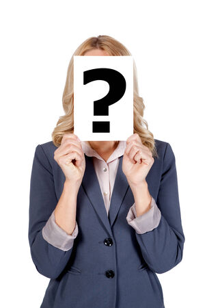 Blonde woman holding Questionmark Stock Photo - 25825496