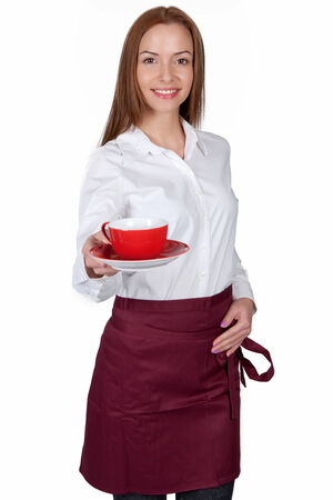 Waitress serve a cup of coffee  photo