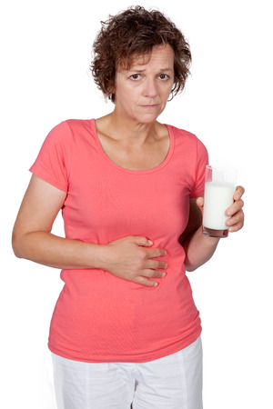 lactose: Woman with stomach ache Stock Photo