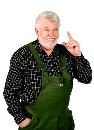 positiv: Handwerker zeigt mit dem Finger nach oben Stock Photo