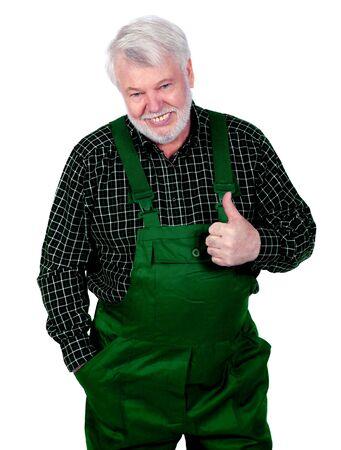 positiv: Handwerker zeigt mit dem Daumen nach oben