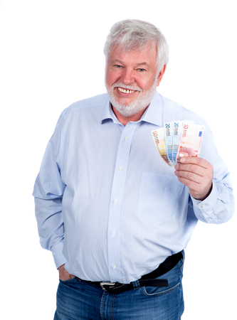 pension cuts: Laughing man with money in his hand Stock Photo