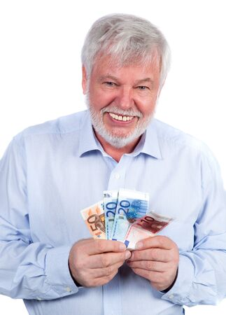 pension cuts: Man with banknotes in his hand