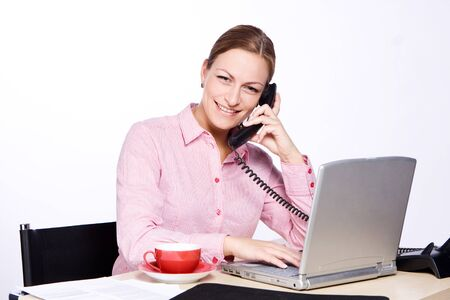 phonecall: Young woman is taking a phonecall