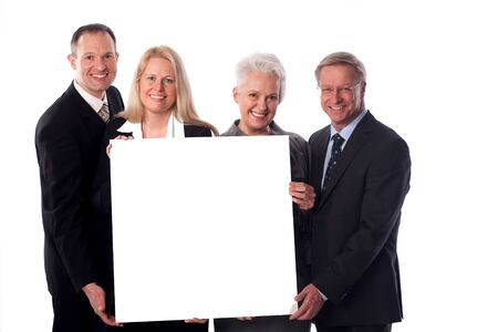 zest for life: Group with a whiteboard in the hands Stock Photo