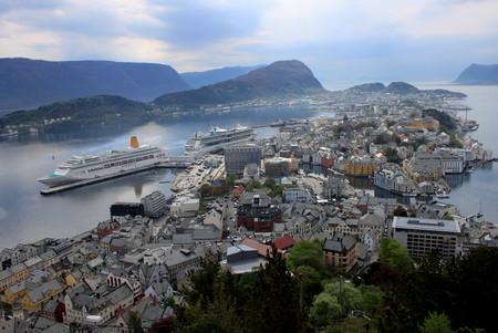 alesund: Alesund Norway city view from Mount Aksla Editorial