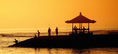 subsistence: Anglers at sunrise in Bali, Indonesia