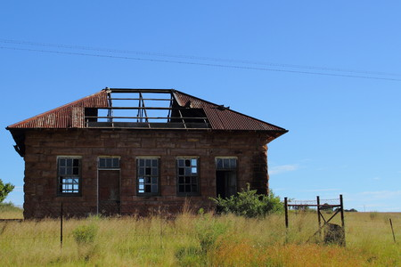 down beat: Abandoned - dilapidated houses going to rack and ruin Stock Photo