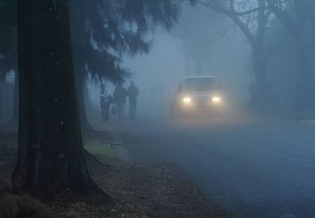 Pedestrians and vehicle using road in the mist