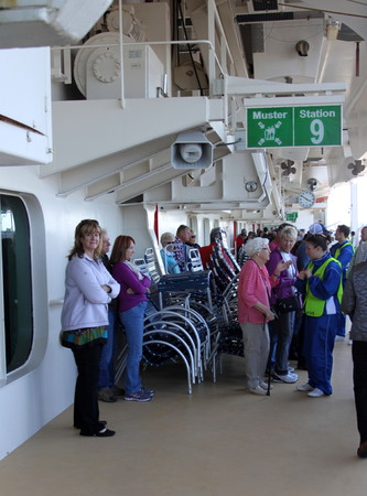 muster: Passengers muster for an emergency drill on a cruise ship Editorial