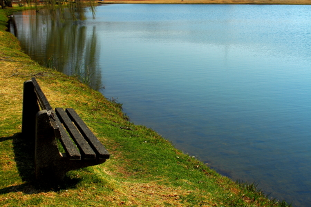 to ponder: Bench next to a pond with ripples and reflections Stock Photo