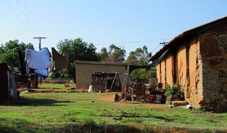 obrero: la casa del trabajador agrícola Gauteng Sudáfrica Foto de archivo