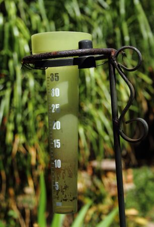 globalwarming: Drought conditions reflected by an empty rain gauge Stock Photo