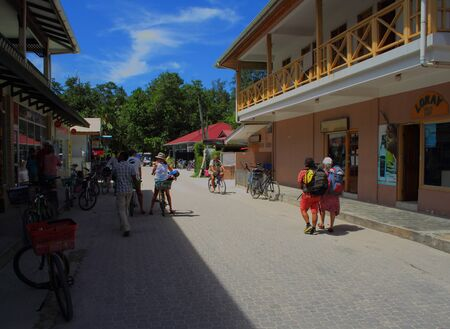 passe: Bicycle transport in La Passe La Digue Island Seychelles