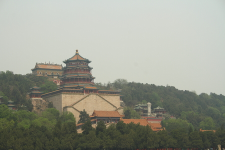 smog: Smog over the Summer Palace in Beijing China