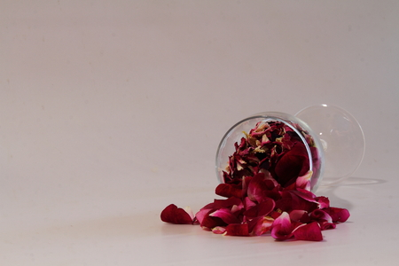 Red rose petals spill from a wine glass against a white background Stock Photo