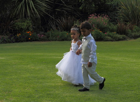 flowergirl: Flower-girl and page-boy walk hand-in-hand