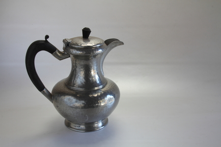 pewter: Old pewter kettle Stock Photo