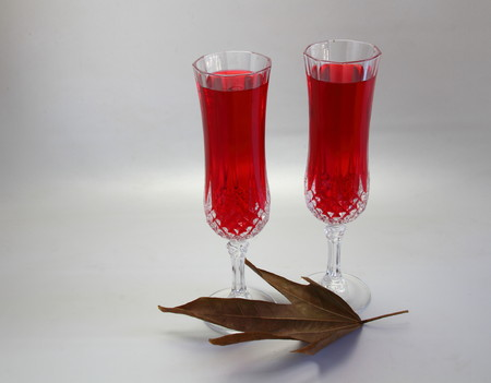 landscape format: Two glasses of red juice and a dry leaf on a white background in landscape format