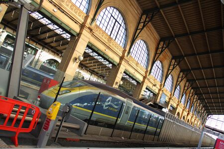 Eurostar train at Paris station - acute angle Editorial