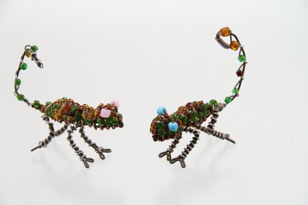Reptiles made from wire and beads