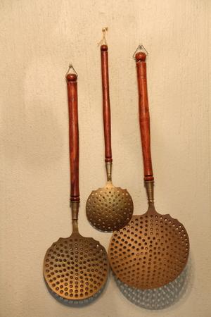 househould: Large retro bronze stirring spoons