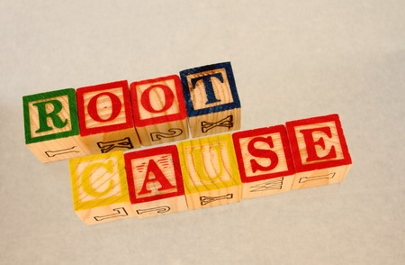 Root cause - phrase represented in wooden toy blocks
