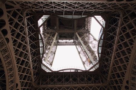 below: The Eiffel Tower viewed from below Editorial