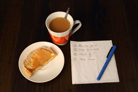 A one person strategy planning meeting with notes on a serviette, coffee and a sandwich